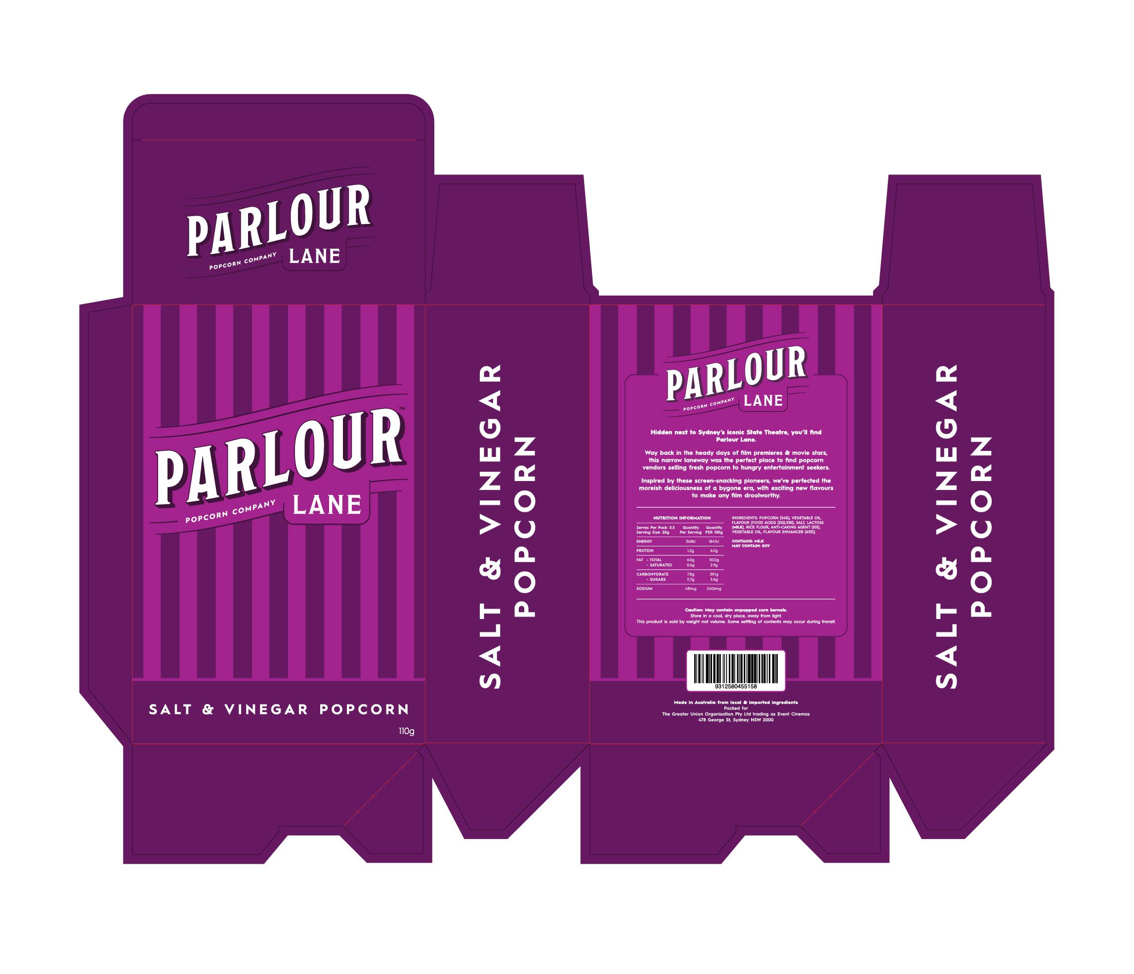 Parlour Lane Popcorn Package Die Line